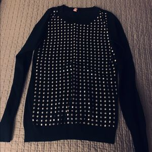 Black sweater with gold beads